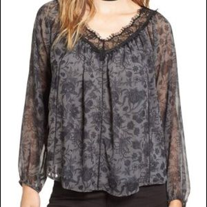 Lace Neck Chiffon Blouse